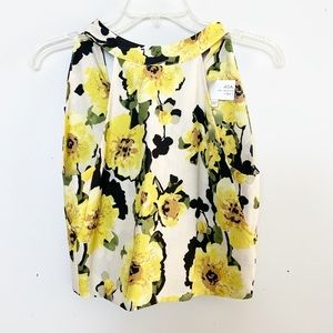 J.O.A. Floral High Necked Crop Top Size Small